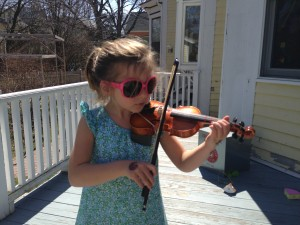 practicing outside on a warm Spring day